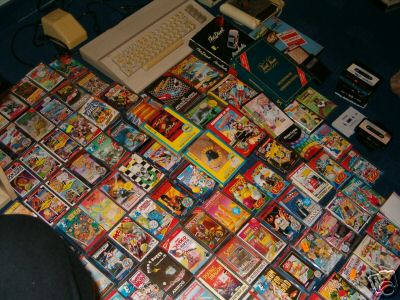 A heap of casette games with game covers from Commodore 64