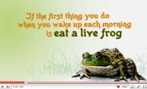 screen capture of a frog.  Caption reads: If the first thing you do when you wake up each morning is eat a live frog