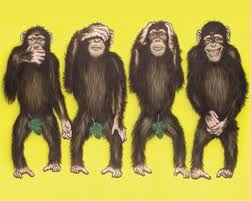 4 monkeys with hands positioned: over mouth, eyes, ears. crotch