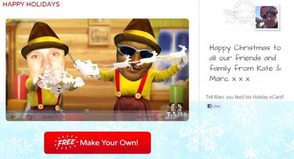 Image: Screenshot of whacky video with Kate and Marc heads superimposed on German cartoon christmas characters