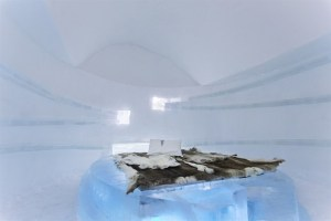 Ice room with marble tunnels carved into walls.
