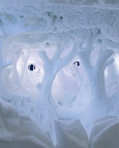 Ice room with life size snow trees.