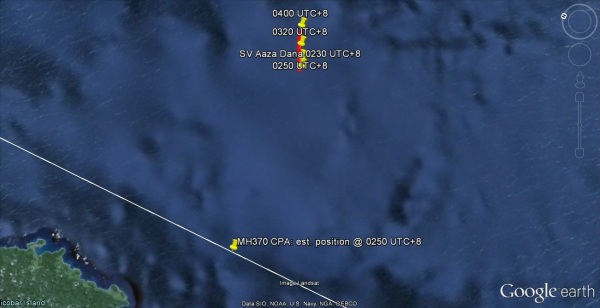 Detail of the boat track and CPA. Shows the flightpath passing astern from port to starboard. (boat track-up not north-up) Swap the lower two boat track labels round, for some reason they are flipped at larger scales.