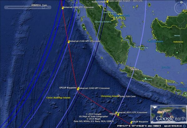 Potential flight route for MH370s Southern leg, which fits the lower speed and altitude I witnessed, as well as the Inmarsat data.