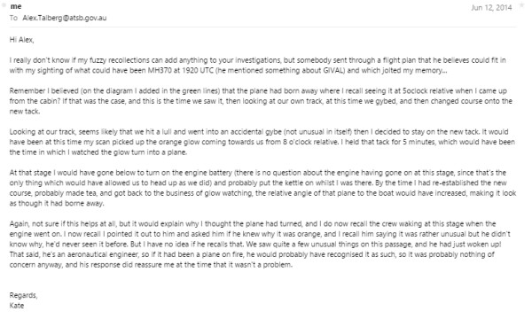 This email which I sent to ATSB on 12th June 2014 was not acknowledged.  Neither did they try to contact the crew to verify he had also seen it.